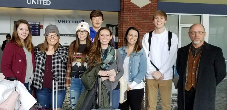 Students representing James Monroe at HMUN. (Left to right) Lauren Ballard, Sidney Karnes, Madison Bragg, Cade McMunigal, Abby Fraley, Ashley Mann (Teacher), Ian Jackson, and Scott Womack (Teacher)